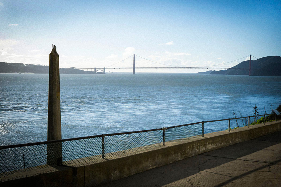 The Golden Gate Bridge from Alcatraz Island, off the coast of San Francisco, USA