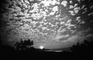 A ghostly distant view of Byron Bay Lighthouse, taken at night on Kodak 2475 recording film. Although slow by today's digital standards this panchromatic film was used for surveillance and other low light situations. Photographers like me liked it for its extremely course grain. I was experimenting a lot with unusual films in the 1990s. Most of these films are no longer available now and digital effects have taken over. I used to love the unexpected effects of experimenting with film.