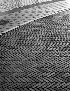 Detail of cobbles on a street in the old part of Groningen, Netherlands