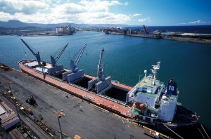 Aerial view of freight ship at Port Kembla, taken from a crane bucket.