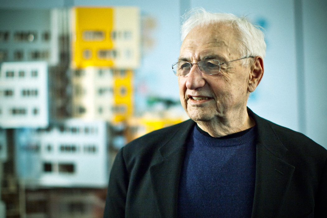 Renowned international architect, Frank Gehry, infront of his design model of the Dr. Chau Chak Wing Building. Designed for the University of Technology, Sydney
