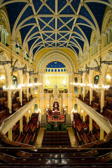 The beautiful interior of Sydney's Great Synagogue in Castlereagh Street. This image was taken as part of an archival recording undertaken by Orwell & Peter Phillips Architects.