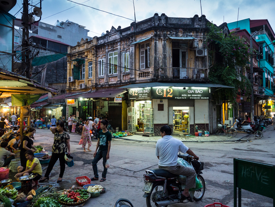 Busy street corner in the Old Quarter, Hanoi, Vietnam
