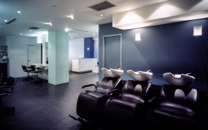 Hair salon interior. One to One Salon, Elizabeth St. Sydney