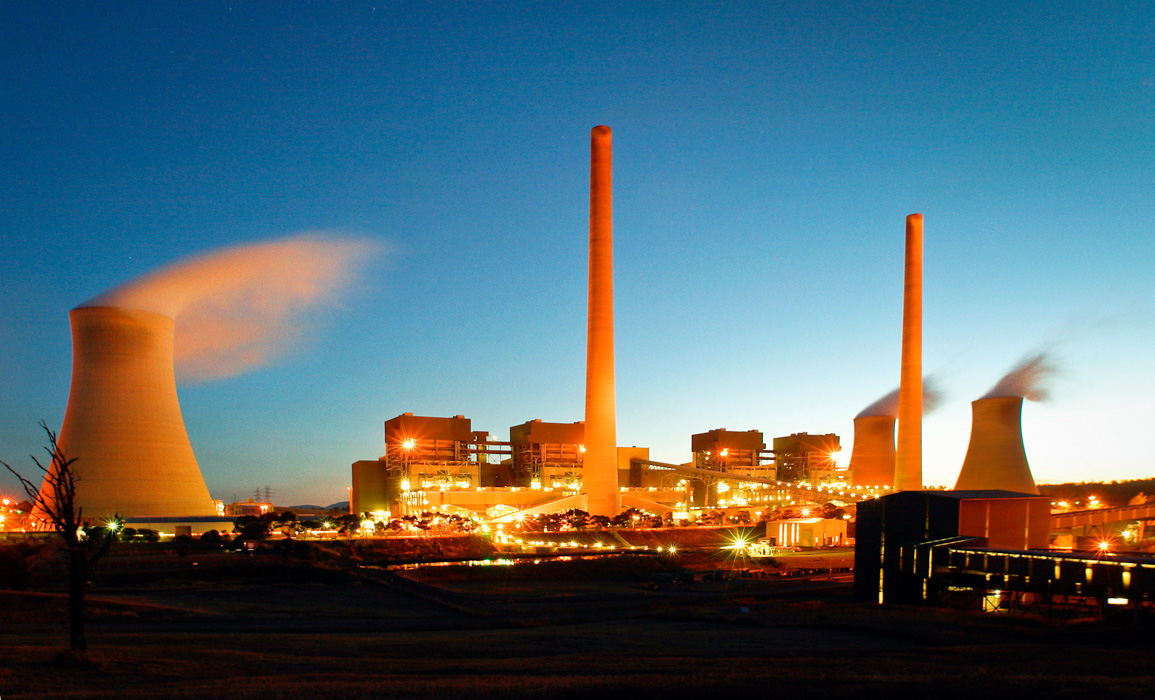 Liddell Power station at night. Hunter region NSW