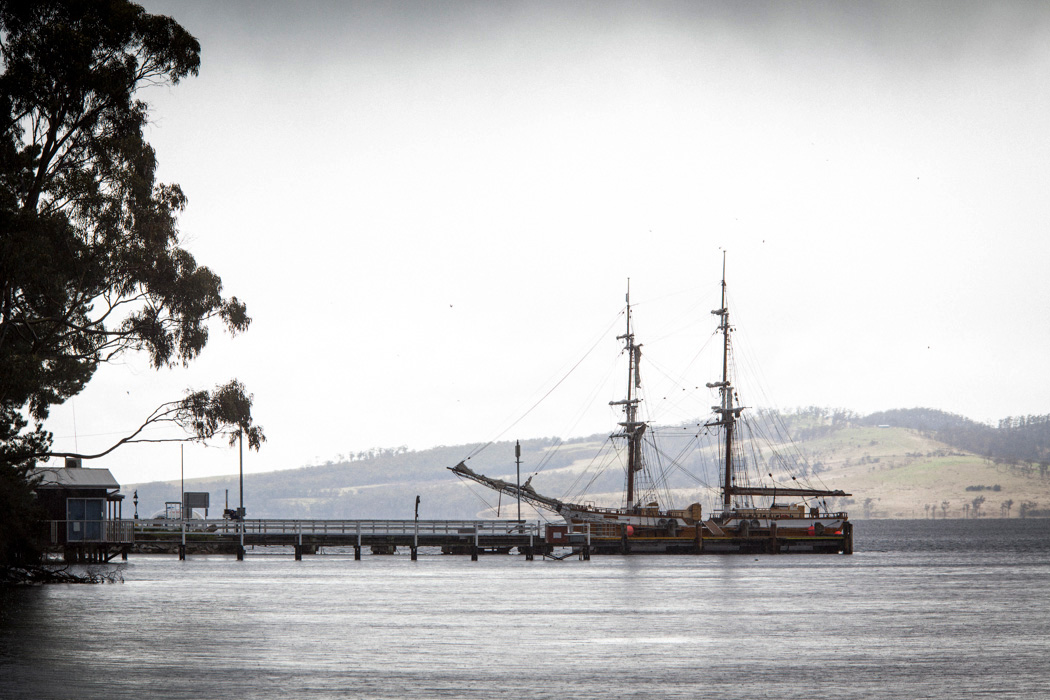 The Lady Nelson at Woodbridge Jetty, Tasmania.