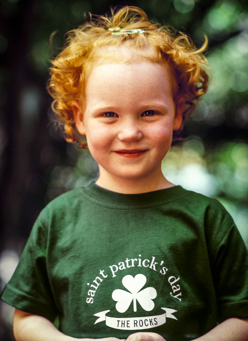 This little girl was chosen as the face of Saint Patrick's Day at The Rocks in 2008 by Sydney Harbour Foreshore Authority.