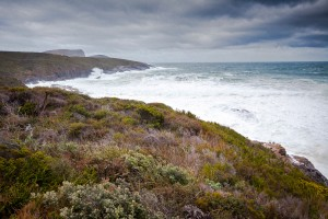 Stormy seas on the southern coastline of the Tasman Peninsula, 12 km south of Port Arthur, Tasmania.