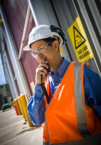 Worker on two way radio. WSN's Jack's Gully advanced waste treatment site.