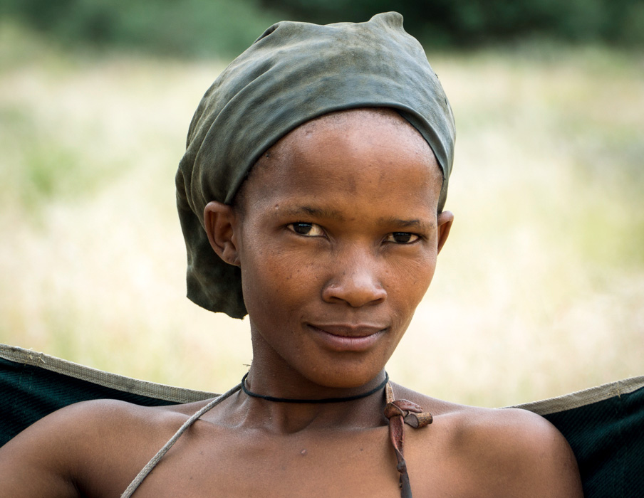 Young woman from a bushman village near Gobabis, North-Eastern Namibia.