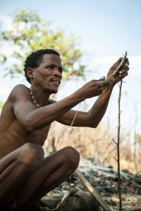 Bushman hunter preparing a snare. Nhoma Namibia.