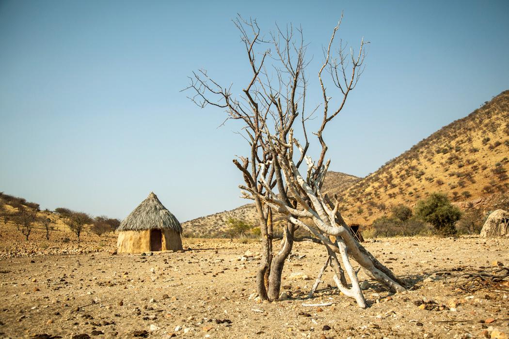 Hut in a small ovahimba village near Opupa Falls, North-Western Namibia