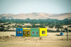 This kindergarten was being built in the Namib desert, South-Western Namibia. Bright colours are a characteristic of many of the buildings here.