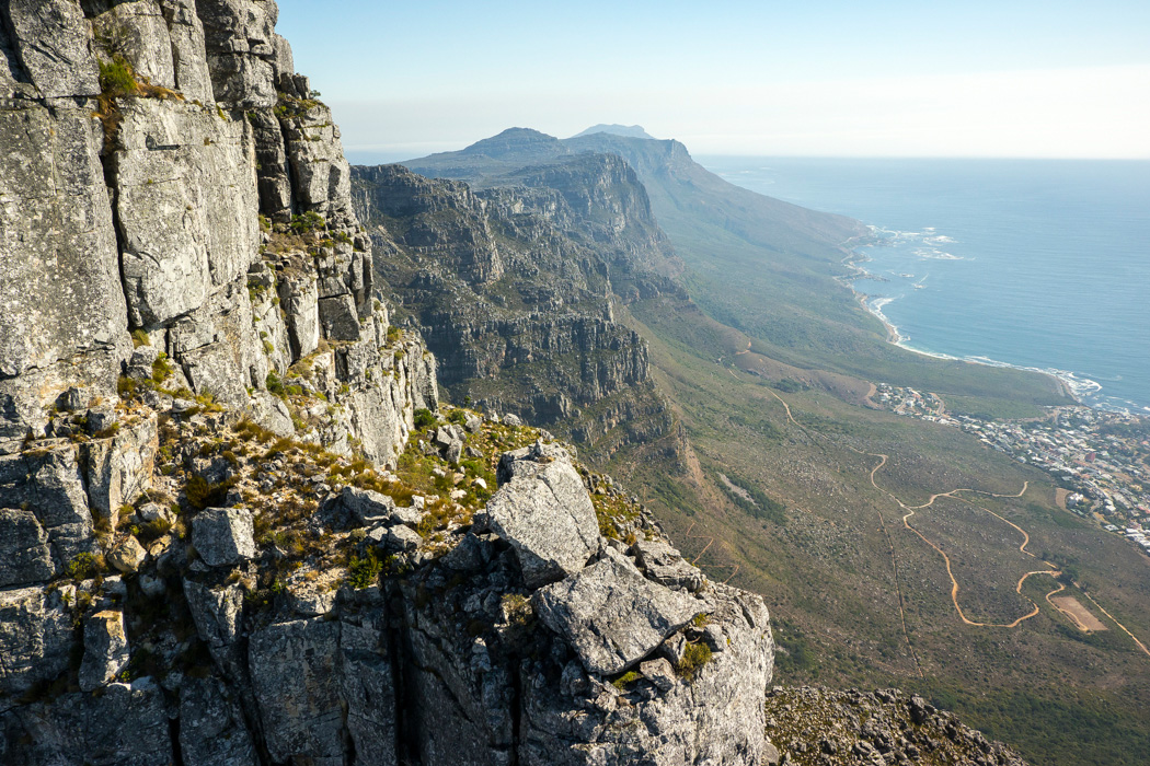 View of the Twelve Apostles from the Table Mountain cable car. Cape Town, South Africa.