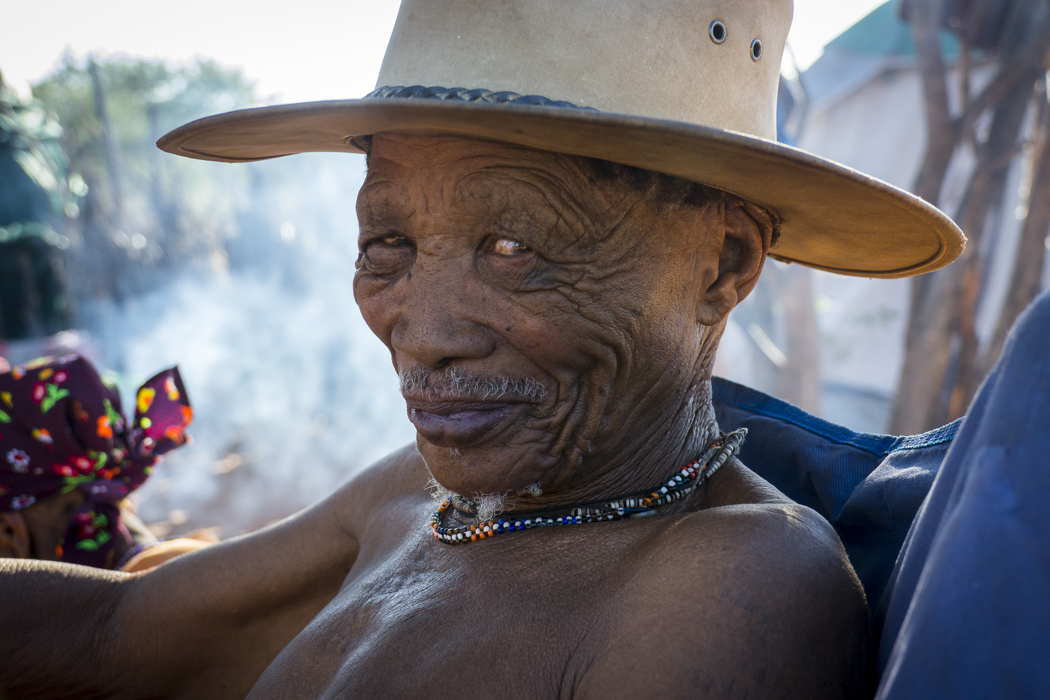 "!Gubi is a bushman with a proud tradition as a hunter-gatherer in Namibia. The ""!"" in his name denotes a click in a spoken word. The click speaking languages of Southern Africa are increasingly rare."