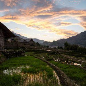 Farming village and rice terraces, near Sapa in Northern Vietnam.